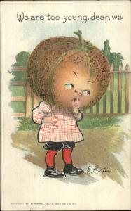 E. Curtis Fantasy Fruit Vegetable Head Child Valentine c1910 TUCK Postcard