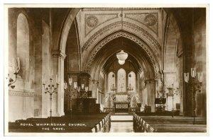 Antique RPPC monochrome postcard Royal Whippingham Church The Nave Tucks