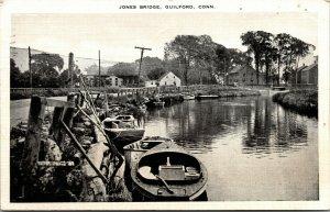 Postcard Jones Bridge Guilford Conn CT - HARBOR DOCKS SHIPS BOATS