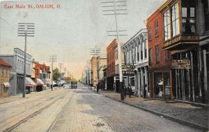 A76/ Galion Ohio Postcard c1910 East Main St Millinery Mooney's Store Trolley