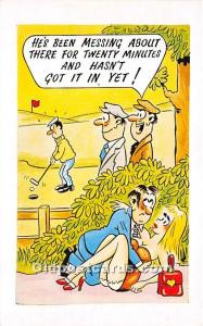 Old Vintage Golf Postcard Post Card He's been messing about Unused
