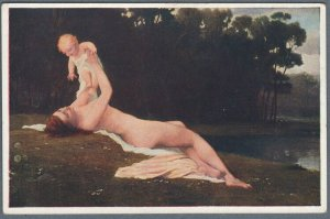 Old Postcard Nude Woman With Baby Laying on Riverbank by E. Lebiedzki