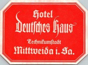 Germany Mittweida Hotel Deutsches Haus Vintage Luggage Label sk4761