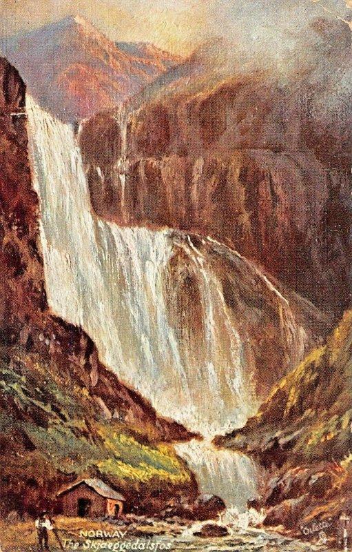 SKJAEGGEDEDALSFOSS WATER FALLS~TUCK WORLD WIDE VIEW-NORWAY SERIES I POSTCARD