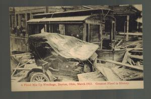 1913 RPPC Postcard Dayton OH USA Flood Damage Wreckage