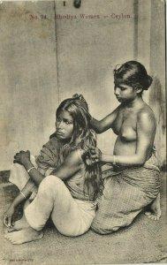 ceylon, Beautiful Native Nude Rodiya Women, Long Hair (1910s) Postcard (1)