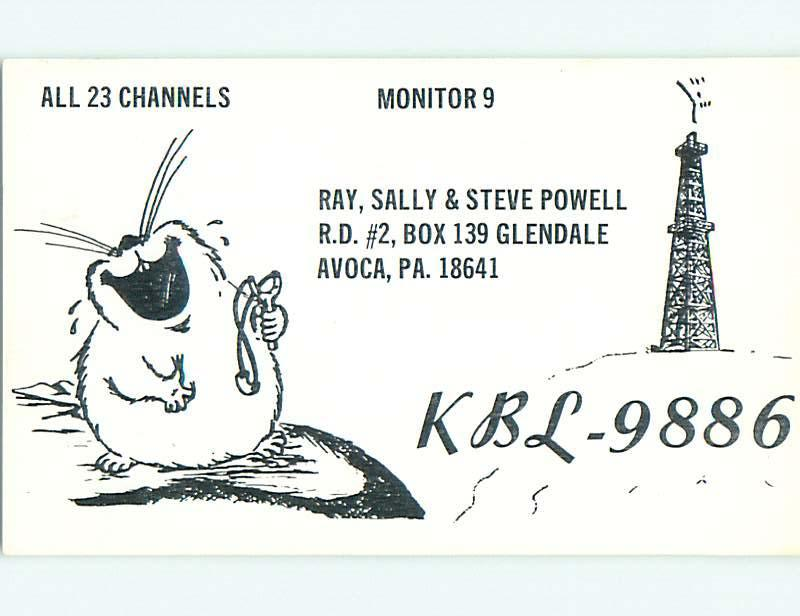 comic - QSL CB HAM RADIO CARD Avoca Pennsylvania PA t9495