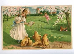 187174 EASTER Girl ALPHABET Chickens Vintage EMBOSSED PC