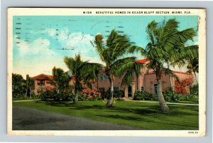 Miami FL, Beautiful Homes In Silver Bluff Section Vintage Florida c1931 Postcard