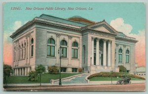 New Orleans Louisiana~New Orleans Public Library~Grand Entrance~Car Front~1915