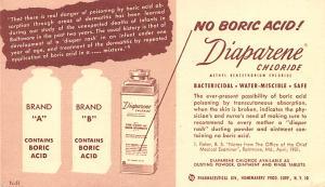 Medicine Advertising Old Vintage Antique Post Card Diaparene Chloride 1951