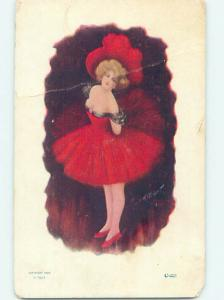 Bent Pre-1907 risque PRETTY GIRL WEARING LOW-CUT RED DRESS HJ3051