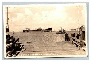 Vintage 1930's RPPC Postcard Oil Tanker Port Aransas Texas Near Corpus Christi