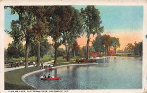 View of Lake, Patterson Park, Baltimore, Maryland, Early Postcard, used