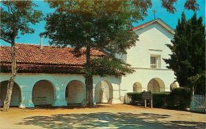 Postcard San Juan Bautista California CA church visitors entrance