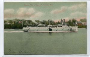 Steamer City of Augusta Kennebec River Maine 1910c postcard