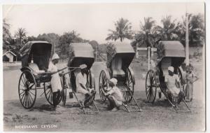 Sri Lanka / Ceylon; Rickshaws RP PPC By Plate, Unused, c 1930's, Shows Drivers