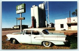 Postcard Route 66 Souvenirs Edsel Old Car Automobile Groom TX Texas Motel A1