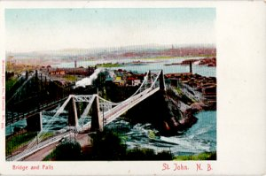 ST JOHN New Brunswick - TWO BRIDGES and falls with town in distance, 1910s view