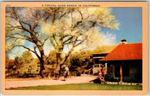 Vintage California Postcard A TYPICAL DUDE RANCH IN California Linen 1940s
