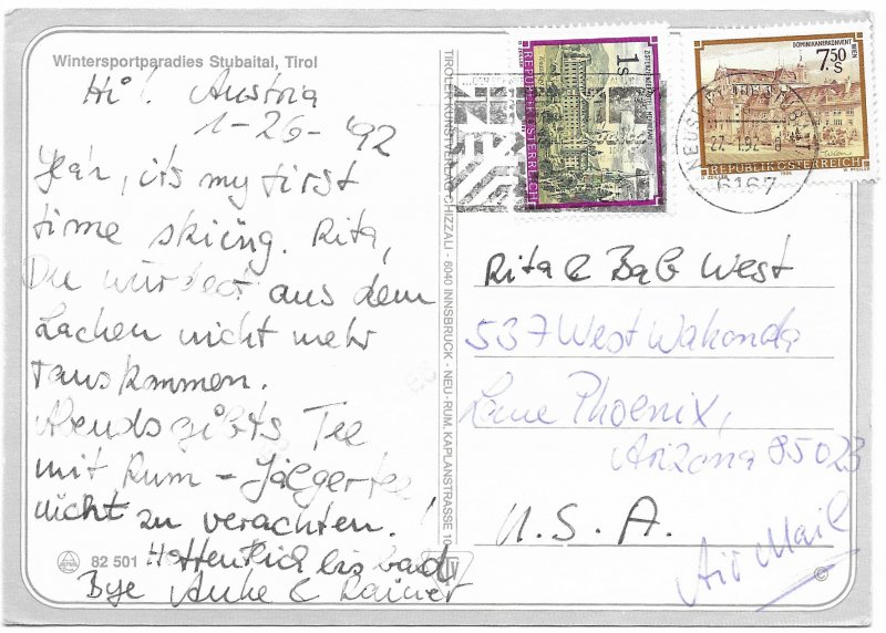 Austria Winter scenes and Snow Lifts.  Used. Nice postage. 1992