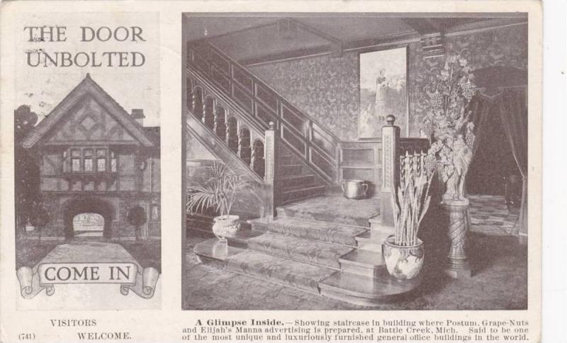 Advertisement, Interior U0026 Exterior, The Door Unbolted, Battle Creek,  Michgan,... / HipPostcard