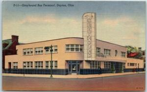 Dayton, Ohio Postcard GREYHOUND BUS TERMINAL Depot Station Art Deco Linen c1940s