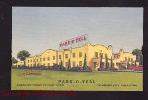 OKLAHOMA CITY OKLAHOMA ROUTE 66 PARK-O-TELL LINEN ADVERTISING POSTCARD