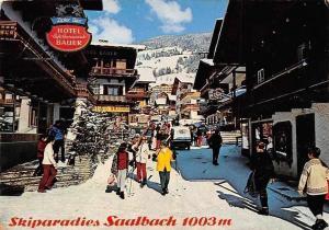 Skiparadies Saalbach, Dorfstrasse Hotel Cafe Restaurant Bauer Winter