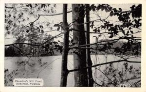 Montross Virginia Chandlers Mill Pond Waterfront Antique Postcard K92810
