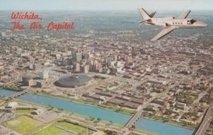 Wichita The Air Capitol Plane Flying Over State 1960s Postcard