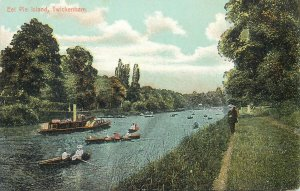 Postcard UK England Twickenham, Middlesex rowboat steamboat