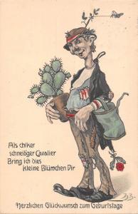 US2451 Als chiker schneidger Cavalier cactus germany comic greetings birthday