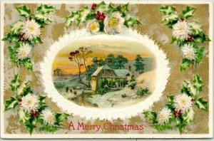 Vintage MERRY CHRISTMAS Embossed Greetings Postcard Winter Mill Scene c1910s