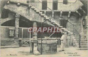 Old Postcard Chateau d'If Marseille Interior Court