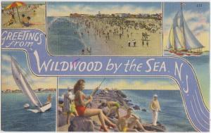 WILDWOOD BY THE SEA - GREETINGS 1930s era / boats fishing beach