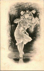 Vtg Carte Postale Artiste Signé M.G Reenen ? Petit Fille Robe Blanche Fleurs En