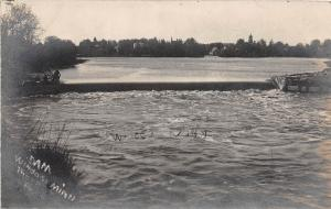 D79/ Windom Minnesota Mn Real Photo RPPC Postcard 1907 Dam River