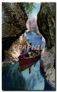 Old Postcard Gorges Du Sierroz The Boat