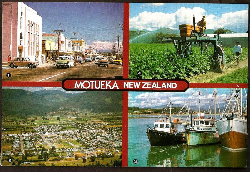 NEW ZEALAND POSTCARD MOTUEKA-PORT-MAIN STREET-AERIAL VIEW-TO