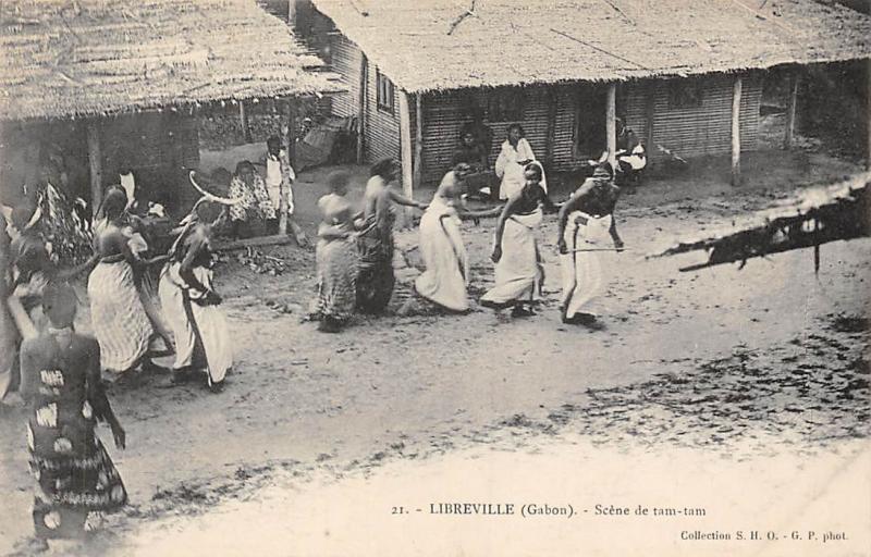 Gabon Libreville, Scene de tam-tam, dance