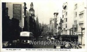 Australia Real Photo - Bourke Street, Parliament House Melbourne Melbourne Re...