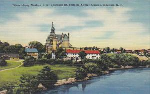 New Hampshire Nashua View Along Nashua River Showing St Francis Xavier Church