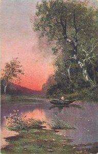 Germany Kunstler Postkarte boat fishing art signed painting