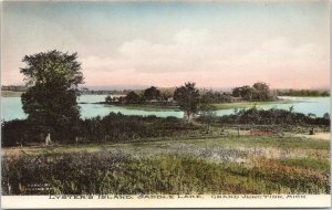 Grand Junction Michigan~Saddle Lake~Lyster's Island~c1910 Handcolored Postcard