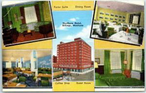 Billings, Montana Postcard NORTHERN HOTEL Multi-View Roadside KROPP Linen c1940s