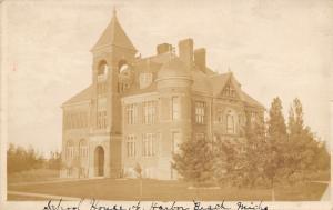 Harbor Beach Michigan~School House~Uncle Sam Ogle Got Home~Is Well~1910 RPPC