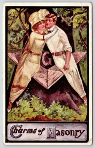 C Levi~Charms of Masonry~Couple on Square Compass Tree Bench~Cloche Hat~Postcard