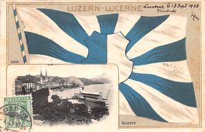 Switzerland Old Vintage Antique Post Card Luzern Lucerne 1908 Stamp on front