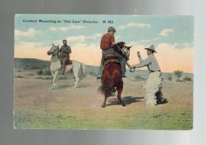Mint Picture Postcard Cowboy Mounting Outlaw Bronco Horse C E Morris